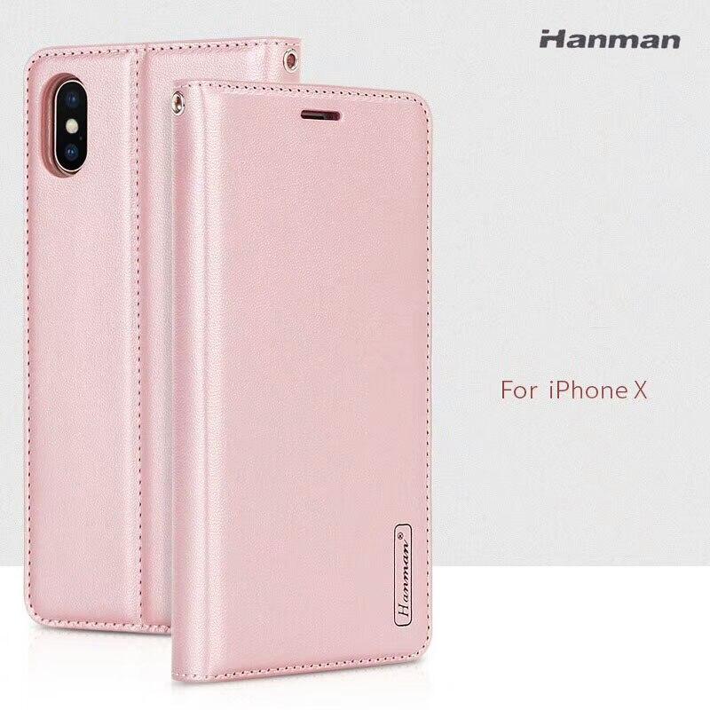 Hanman Pour iPhone 8 8 Plus Style D'affaires De Luxe En Cuir Portefeuille cas Silicium Couverture Arrière Magnétique Fermer Fente Pour Carte pour iPhone X