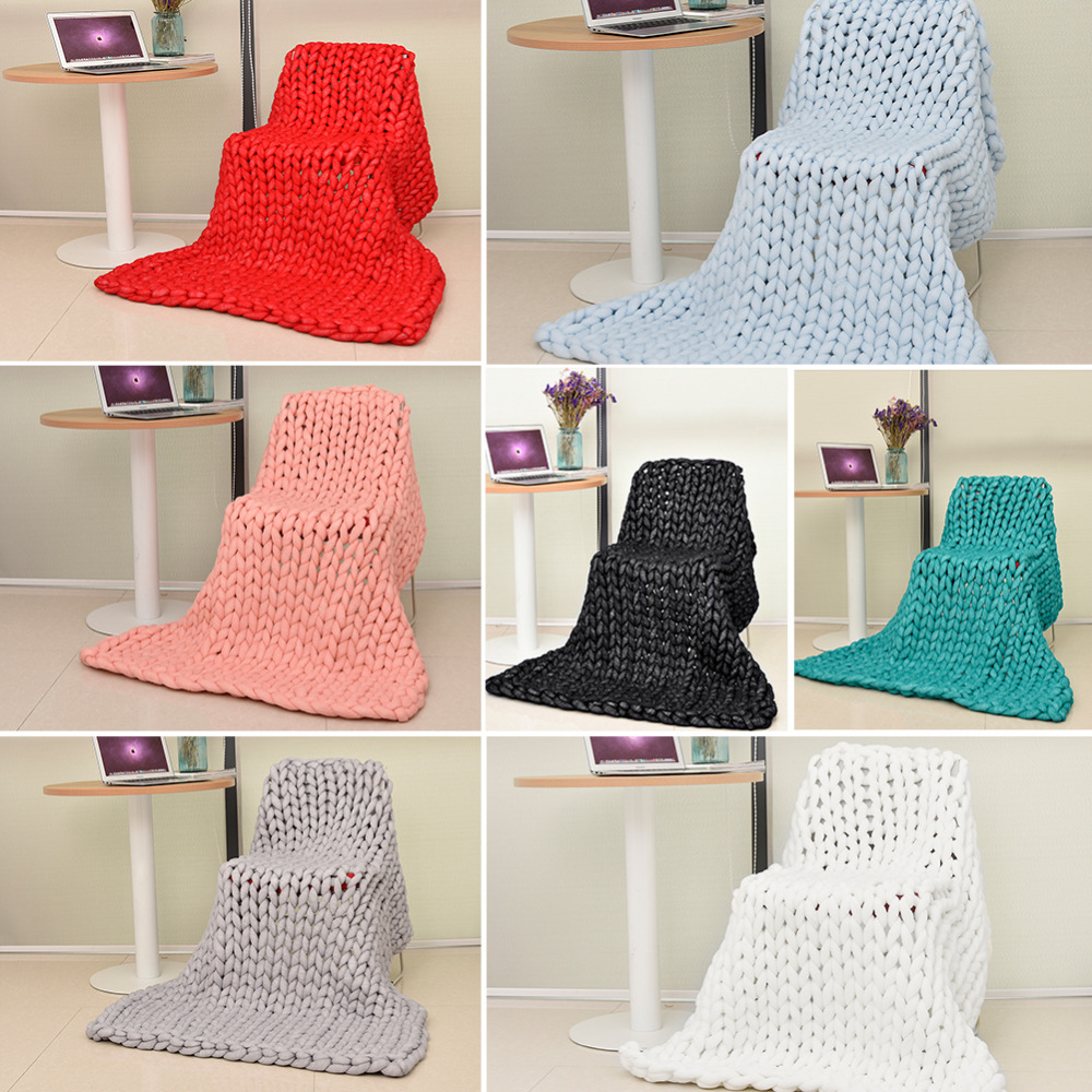 New 7 Colors Ultra-thick Yarn Blanket Air-conditioner Quilt Sofa Blanket Hand Woven Large Carpet Wholesale купить в Москве 2019