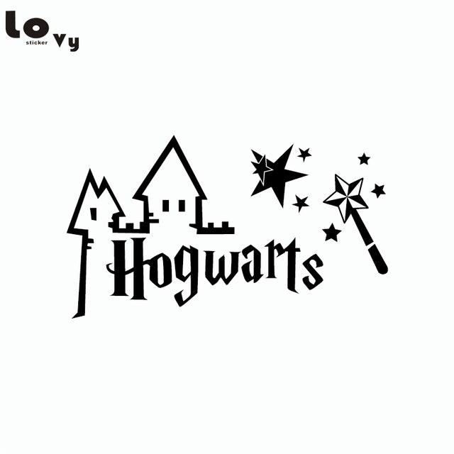 Adesivo De Parede Nuvens E Balões ~ Clássico Filme de Harry Potter Hogwarts Varinha Mágica Corte de Vinil Adesivo de Parede Decalque