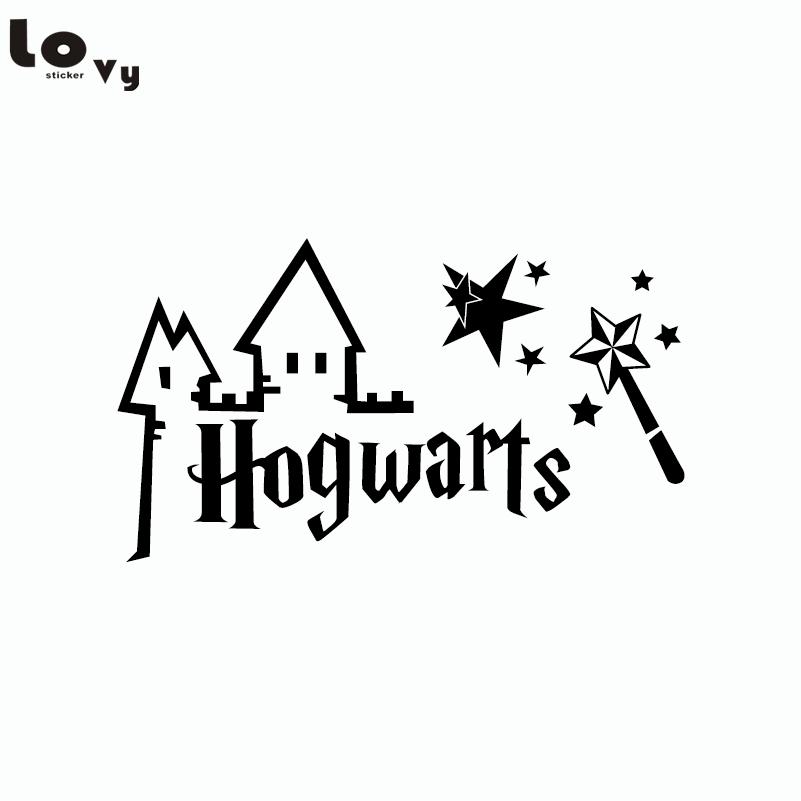 Classic Movie Harry Potter Car Sticker Hogwarts Magic Wand Cut Vinyl Car Decal For Car Body Decoration