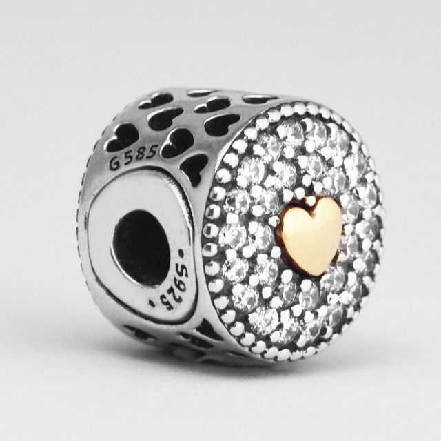 6e5715dc9 Fit Pandora Essence Bracelets Affection Charms 14kGold Small hole bead  2.5mm Original 925 Sterling Silver Beads Women Jewelry