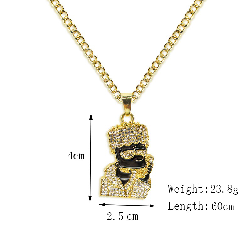 Хип-хоп ювелирные изделия Модные золотые длинные цепочки ожерелья для женщин и мужчин персонализированные буквы Орел молитвенный знак карта кулон ожерелье - Окраска металла: N008