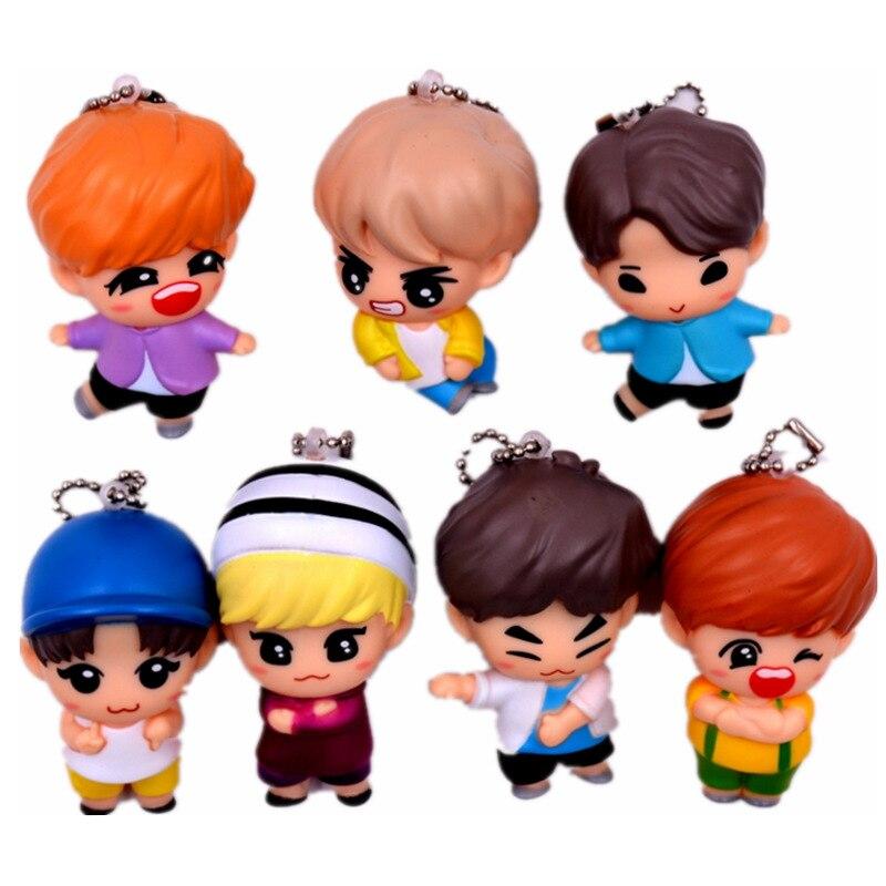 7pcs/set Cute Cartoon Action Figure Toys Kpop Bangtan Boys Keychain Collection Model Doll Toys Children Gift Got7 Action & Toy Figures