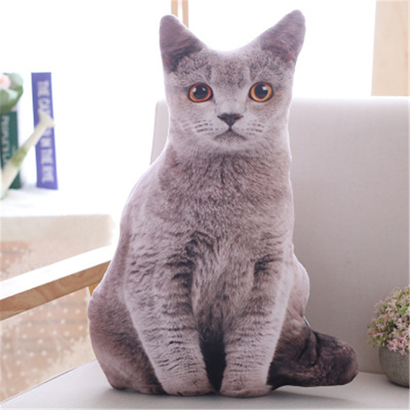 3D Plush Simulation Shorthair Cat Cushion Children's Toys Filled Animals 50cm Creative Pillow Sofa Children's Anime Toys Gifts