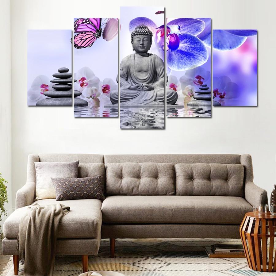 Home Decor DIY diamond painting kits 5 Pieces Pcs Buddha Meditation Stone Orchid Zen Flowers diamond