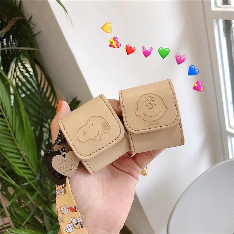 Case For Airpods PU Leather Bluetooth Earphone Charging Box Case For Airpods 2 Cute Protective Cover With Anti-lost Hand Strap