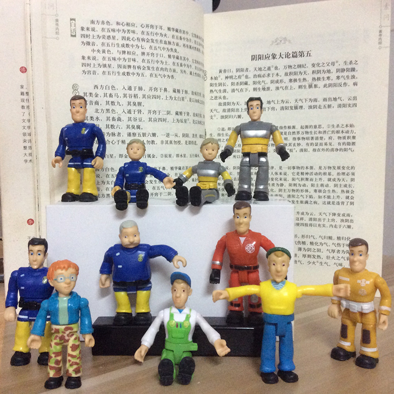 Random 5pcs lot joint movable 6 8cm Fireman Sam Action PVC Figure font b Toys b