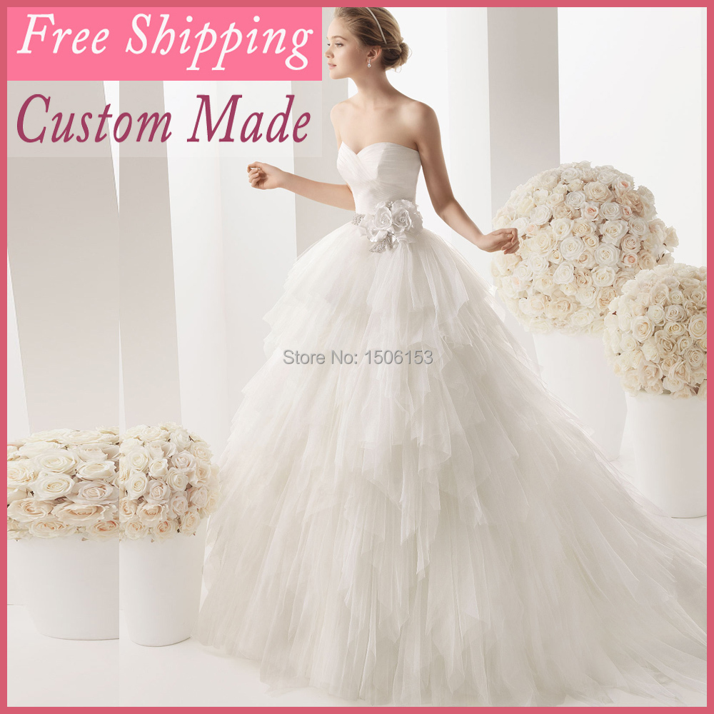 Wedding Ball Gowns 2014: 2014 Flutty Wedding Ball Gowns Feathery Hand Make Flowers