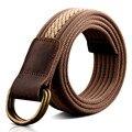 BooLawDee masculinos estilo de La Calle 110 cm de bucle doble hebilla de cinturón de lona 3.8 cm ancho hombres o adolescente casual vistiendo 8D010