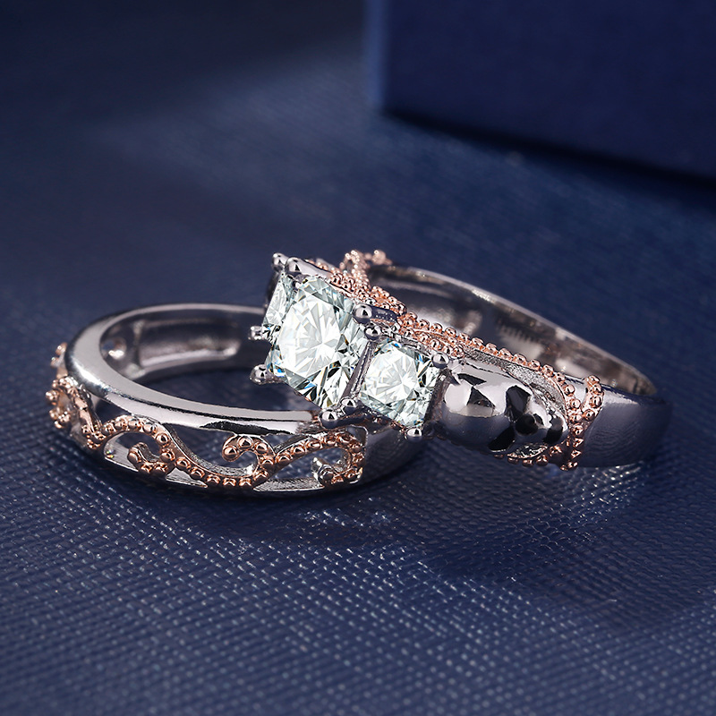 ERLUER Gothic Skull Hollow Style Round Finger Silver Rose Gold Color Crystal CZ Double rings For