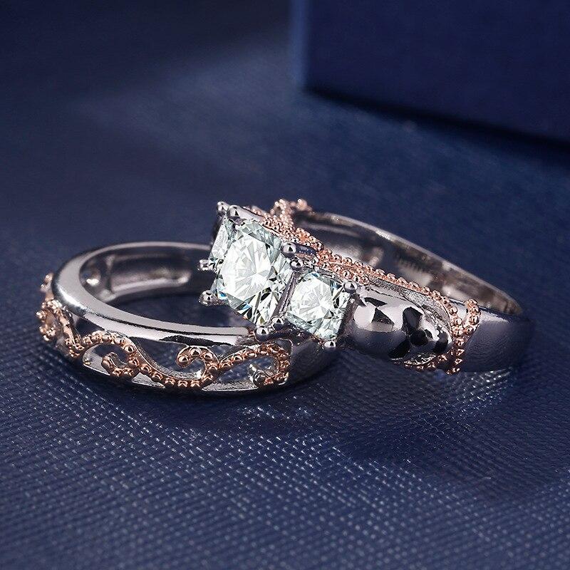 ERLUER gótico calavera estilo hueco dedo redondo plata Rosa Color oro cristal CZ anillos dobles para mujeres joyería de moda anillo de regalo