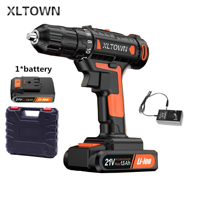 цена на Xltown 21v Mini Electric Drill Rechargeable Lithium Battery Electric Screwdriver Large Torque Household Drill Power Tools