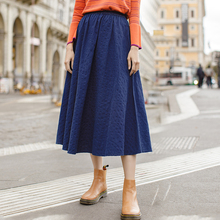 INMAN New Arrival Solid Color Cotton Jeans Blue Artistic A Line All Matched Mid Calf Skirt