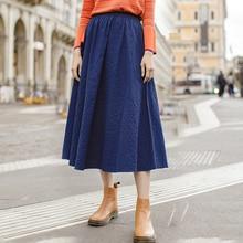 Inman nova chegada cor sólida algodão jeans azul artístico uma linha tudo combinado meados de bezerro saia