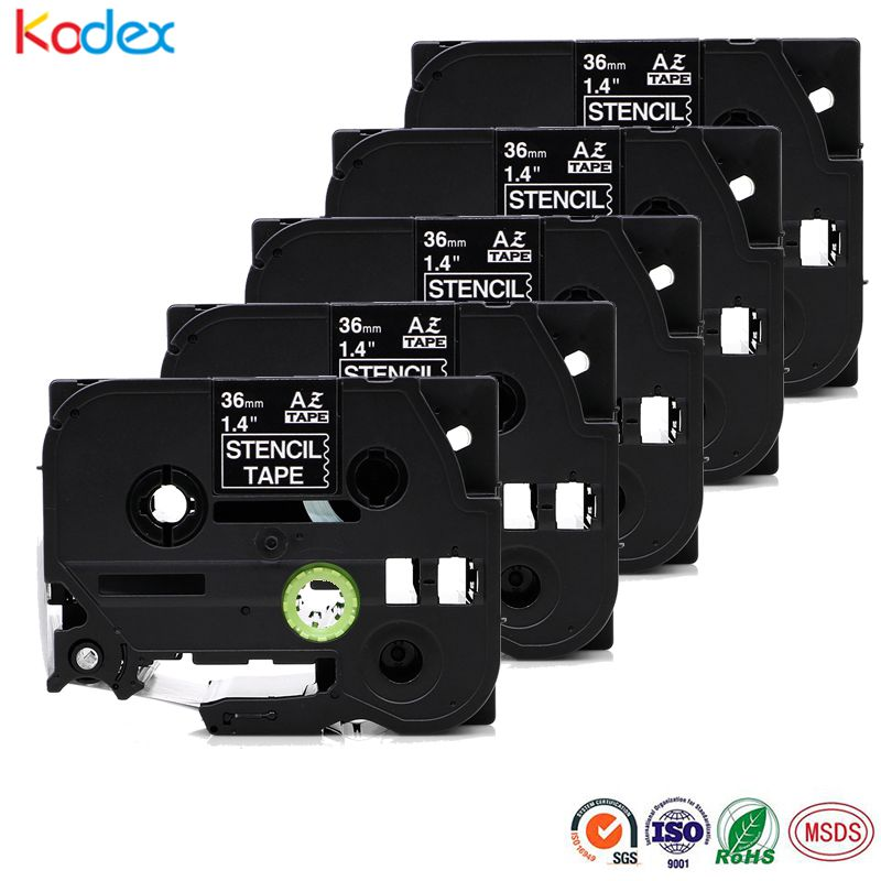 Kodex 5 pieces 36mm stencil tape compatible Brother STE161 non adhesive tapes black on clear|Printer Ribbons| |  - title=