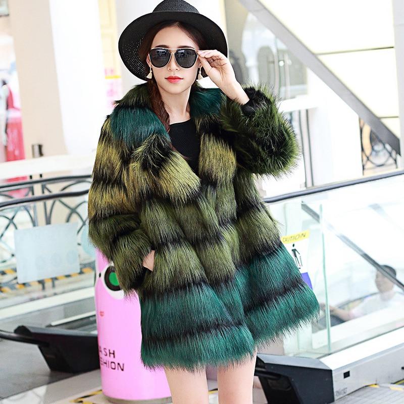 Nerazzurri En Fausse fourrure manteau femmes femelle moelleux de luxe gradient coloré Faux fourrure de renard veste Poilu plus la taille survêtement 5xl 6xl 7xl