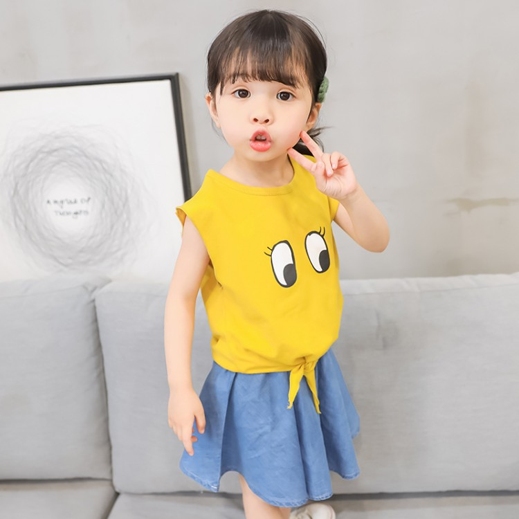 2018 High Quality Sleeveless Girls Skirt Suits Cute Cartoon Printed Vests+ A-line Skirt O-neck 2pcs Baby Girl Sets Summer Cloth