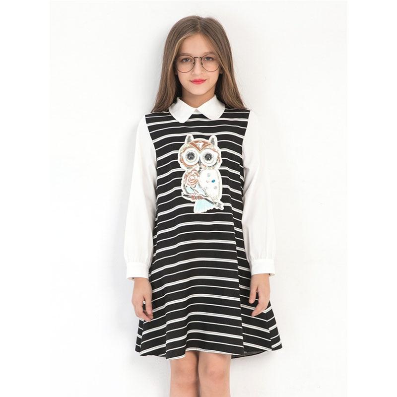 Girls Dress School Clothing Size 7 8 10 12 14 Years Old White Girls Dresses Long Sleeve Owl Cartoon Long Shirt for Little Girl