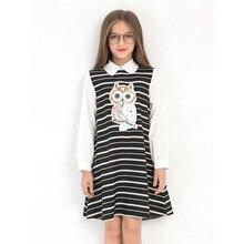 Girls Dress School Clothing Size 7 8 10 12 14 Years Old White Dresses Long Sleeve Owl Cartoon Shirt for Little Girl