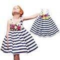 2016 New Arrival Girls Dress Striped Navy Flower Dress Strap Sleeveless Cotton Dress Fashion High Quality Children's Clothing