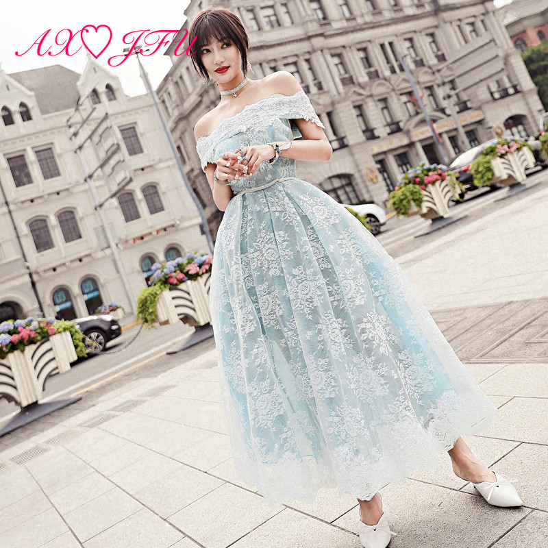 AXJFU Luxury princess blue lace white flower   evening     dress   vintage boat neck illusion beach   evening     dress   100% real photo