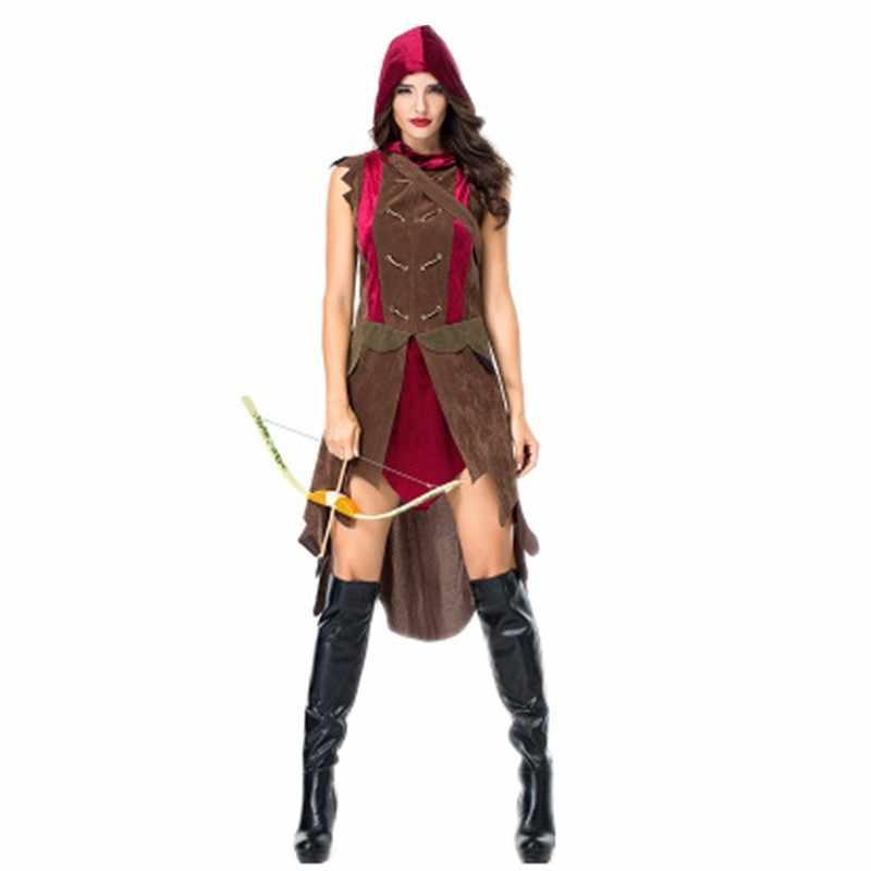 Yetişkin Roma Sparta Gladyatör Savaşçı Cosplay süslü elbise Cadılar Bayramı Amerikan Yerli Hunter Huntress Kostüm