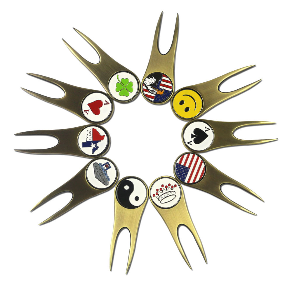 10 Types Golf Ball Marks Unique Designs With Magnetic Antique Brass Golf Divot Repair Tool - Golf  Repair Kit