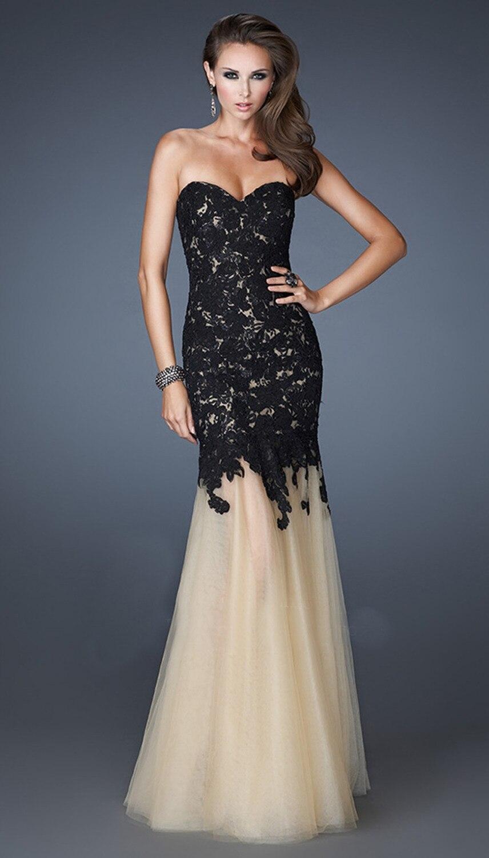 Images of Black White Evening Dresses - Reikian