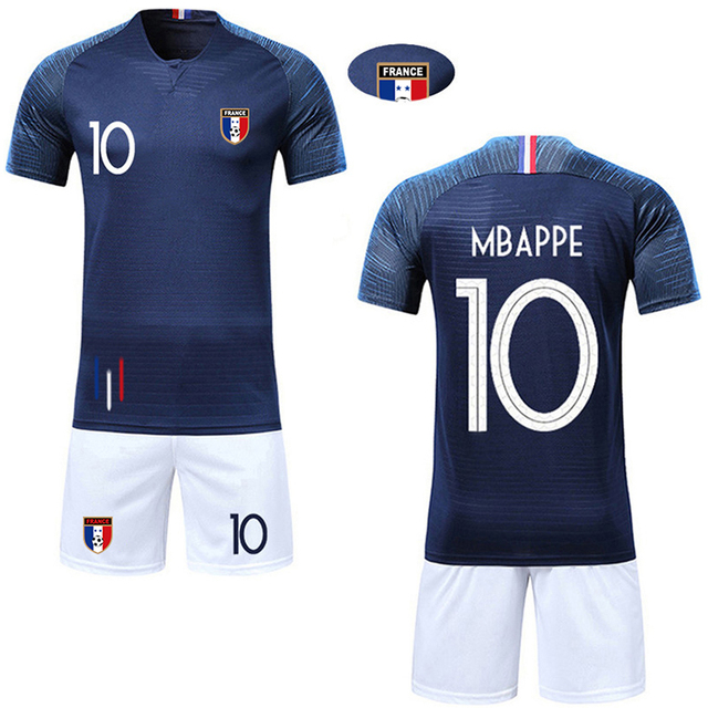 e88907015 Boy Soccer 2018 maillot equipe de france coupe du monde french jersey 2  etoilesMBAPPE GRIEZMANN POGBA kid Football Shirts