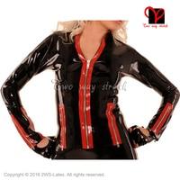Сексуальный резиновый плащ на молнии спереди униформа одежда топ одежда латексный пиджак с длинными рукавами SY 079