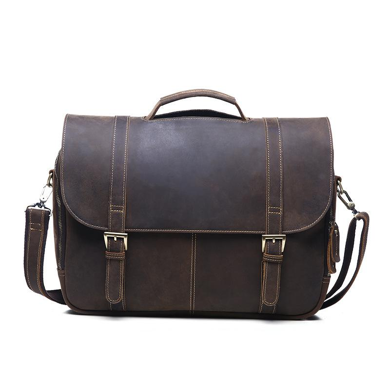 Genuine Leather Crazy Horse Briefcase Cowhide Crossbody Briefcases Handbag Laptop Ipad Bag Male Men Portfolio Tote neweekend 1005 vintage genuine leather crazy horse large 4 pockets camera crossbody briefcase handbag laptop ipad bag for man