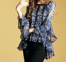 Contrast frill women top blue and black print. three quarter length floral sleeve shirts large size chiffon blouse shirt XXL girls calico print blouse with frill trim shorts