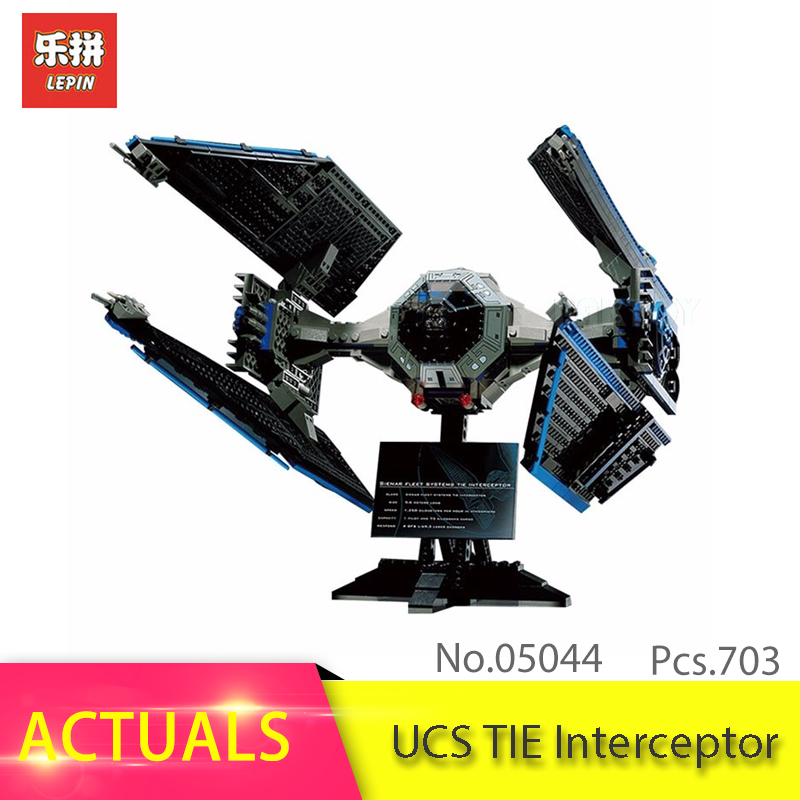 IN STOCK LEPIN 05044 703pcs Star series Wars UCS TIE Interceptor Building Block Bricks Kits Toys for children Gift 7181 конструктор lepin star plan истребитель tie interceptor 703 дет 05044