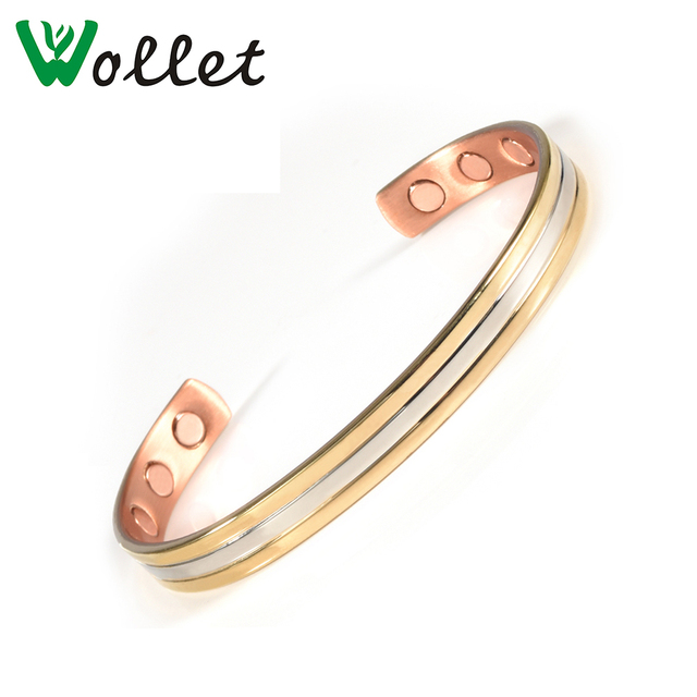 Wollet Jewelry Pure Copper Magnetic Bracelets Bangles Women Healing Energy Wide For Arthritis Pain