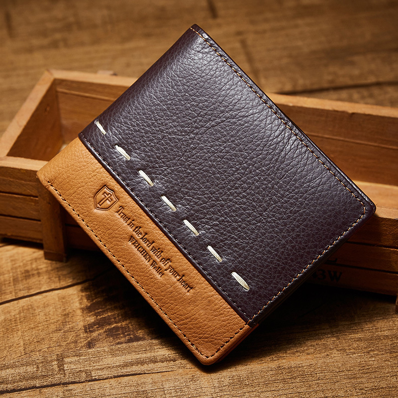 2017 Top Quality Cow Genuine Leather Wallet Men Fashion Men Wallets Brand Short Coin Purse Wallet Male Card Holder Purse fabenson 100% top quality cow genuine leather men wallets fashion splice purse dollar price carteira masculina free shipping