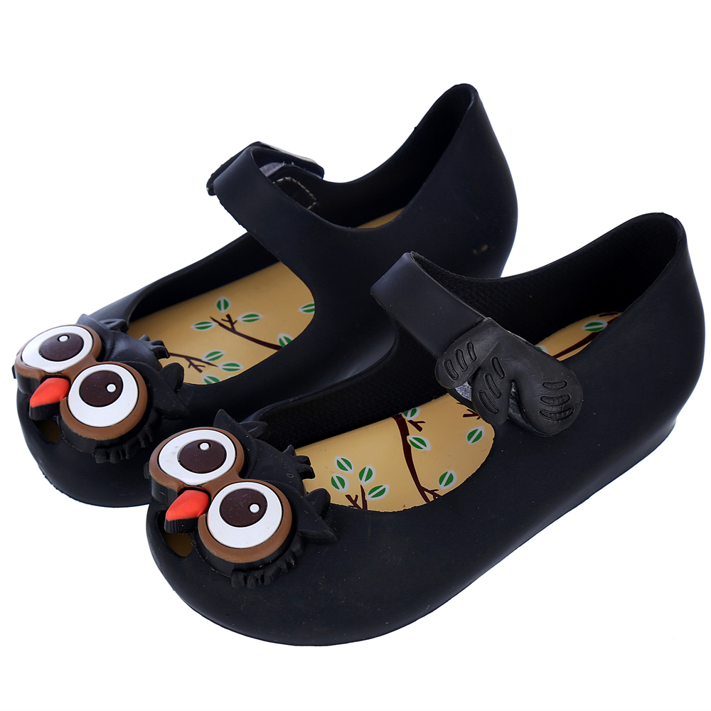 MEMON gaya baru SANDAL Gadis Sabuk Sepatu Owl ornamen Karet lucu Sandal PVC sepatu gadis kulit Lembut tumit Datar anak-anak sandal