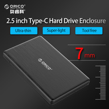 ORICO HDD Enclosure 2.5 Inch USB3.1 Type-c 5Gbps Exernal Hard Drive Disk HDD Case Caddy Tool Free for 7.5mm SSD Support UASP
