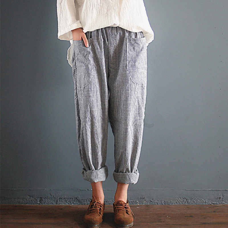 0a2ab9a26e919 Women s Cotton Linen Stripped Harem Pants High Waist Loose Vintage Trousers  For Women Plus Size 5XL