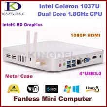 Kingdel Intel Celeron 1037U Dual Core 1.8 ГГц CPU Безвентиляторный Мини-ПК Nettop 4 ГБ RAM 32 ГБ SSD 1080 P USB 3.0 HDMI VGA Металла случае
