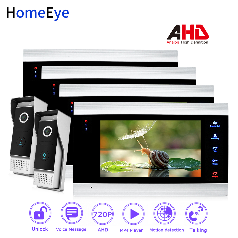 HomeEye 720P AHD Video Door Phone Video Intercom Home Access Control System 2-4 Wide View Angle Motion Detection Security Alarm