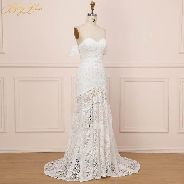 94c26c57ee US $131.73 30% OFF|Sexy Boho Beach Soft White Lace Mermaid Wedding Dress  2019 Sweetheart Long Bridal Dress Hawaiian Bride Gown Summer vestido de-in  ...