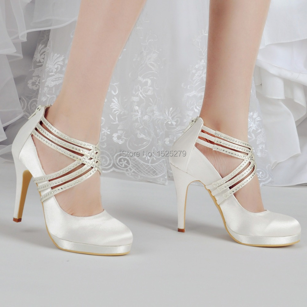 shoes woman ep11085 pf ivory white women shoes high heel rhinestones platforms pumps zip strap