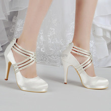 EP11085-PF Ivory White Women Bride Shoes High Heel Rhinestones Platforms Pumps Zip Strap Satin Wedding Bridal Party Shoes