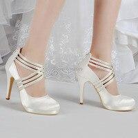 Schoenen Vrouw EP11085-PF Ivoor Wit Vrouwen Schoenen Hoge Hak Strass Platforms Pompen Zip Strap Satin Wedding Bridal Party Schoenen