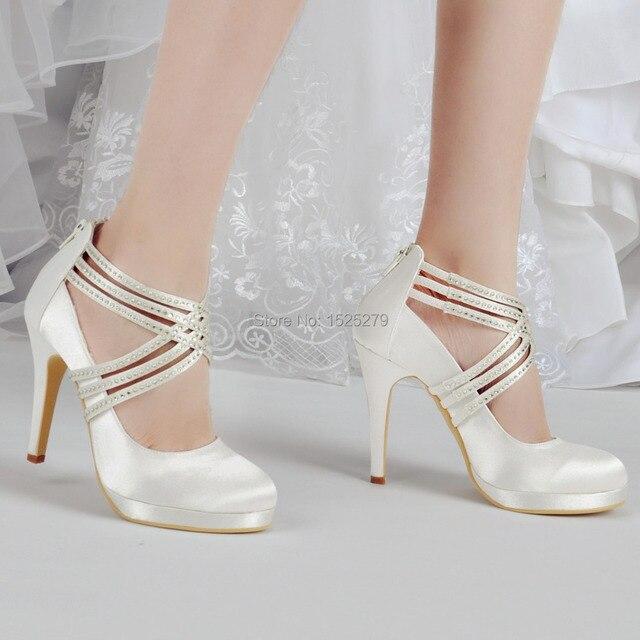 Shoes Woman EP11085-PF Ivory White Women Shoes High Heel Rhinestones  Platforms Pumps Zip Strap Satin Wedding Bridal Party Shoes 1d46822406e7