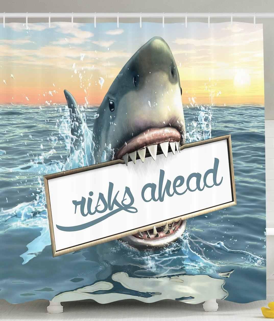 Sanatsal Duş Perdesi Büyük Köpekbalığı Deniz Süslemeleri Eğlence Okyanus Hayvanları Korkunç Aksesuarları Erkekler için Mağara Fikirleri Mavi Teal