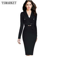 Plus Size Suit Dress 2017 Fashion Long Sleeve Solid Color Notched Sheath Dress Women S Work