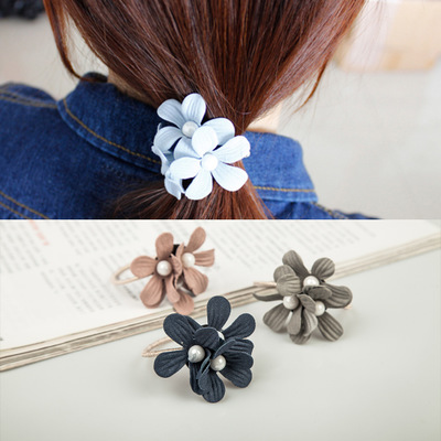 The Cheapest Price 1pcs Lovely Flower Gray Ball Elastic Hair Bands Toys For Girls Handmade Bow Headband Scrunchy Kids Hair Accessories For Womens Making Things Convenient For Customers Girl's Accessories Girl's Hair Accessories
