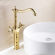 Dual Handle Swivel Bathroom Kitchen Sink Faucet Gold Color Brass Mixer Tap with Hot and Cold Water Deck Mounted zsf094 gold polished deck mounted bathroom sink faucet countertop hot and cold water mixer tap with cover plate