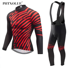 Phtxolue Long Sleeve Cycling Jerseys Set Spring MTB Bicycle Clothes Ropa Maillot Ciclismo Racing Bike Wear Clothing